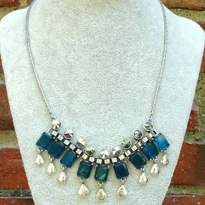 Reversible blue bead and silver necklace